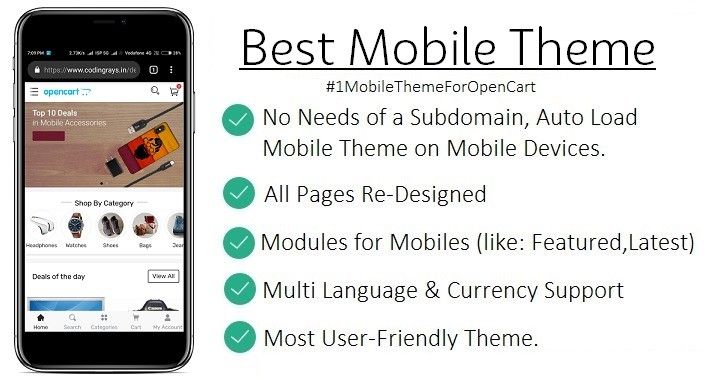 No.1 Best Mobile OpenCart Template Theme PRO By CodingRays