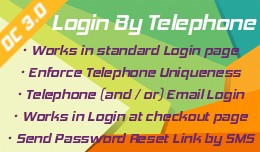 Login by Telephone extension for opencart 3
