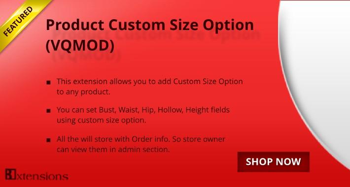 Opencart Product Custom Size Option (VQMOD)
