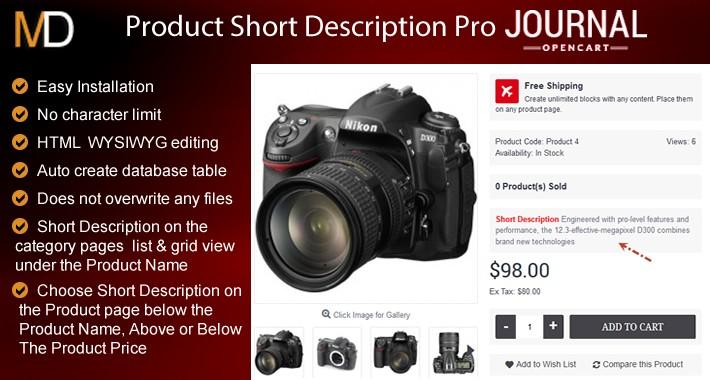 Product Short Description Pro - Journal 2 & 3 Theme