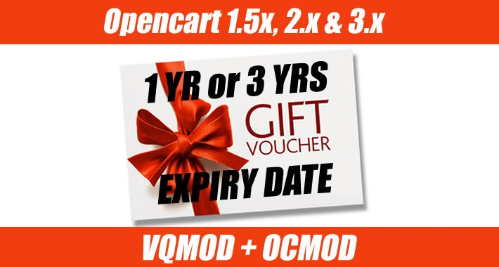 Opencart Gift Voucher Certificate Expiry 1 or 3yrs OCMOD