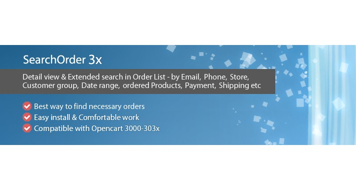 Search Order 3x - Detail view and Extended search for Orders
