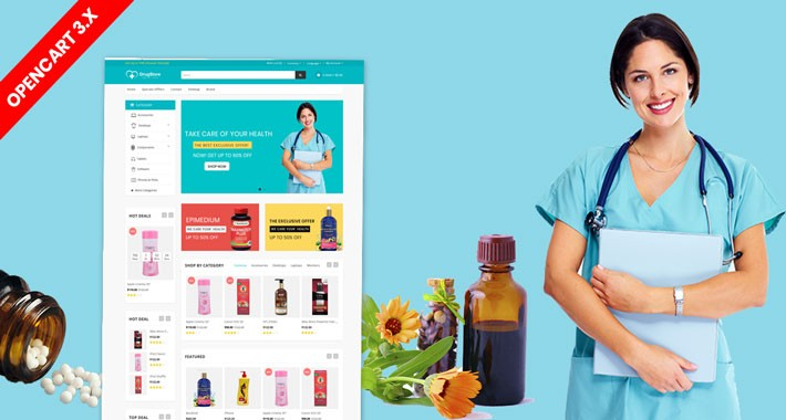 Drugs & Medicine opencart 3 website theme (Doctor)
