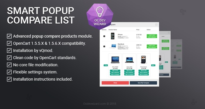 Smart Popup Compare List