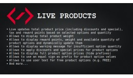 Live Products (live prices/options/weight/points..