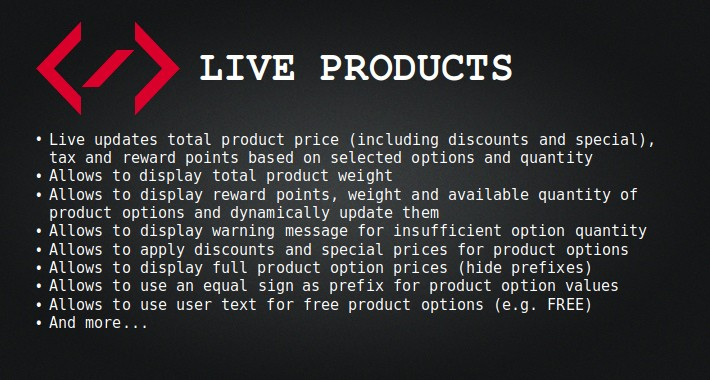 Live Products (live update, an equal sign, option discounts)