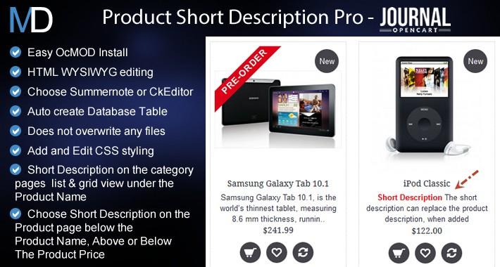 Product Short Description Pro + CkEditor - Journal 2 & 3