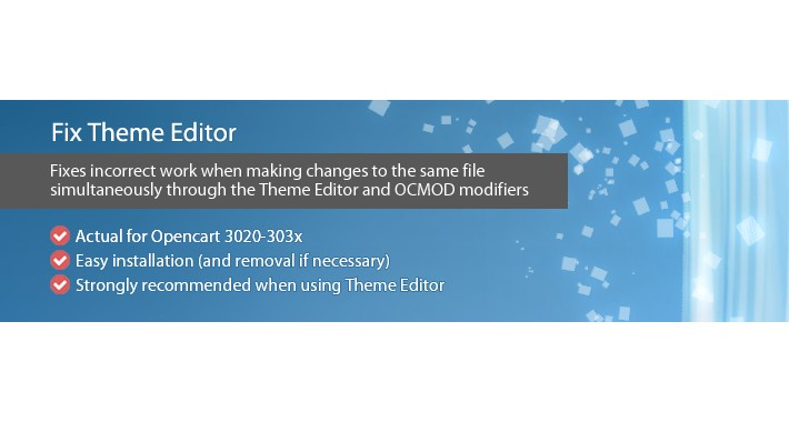 Fix Theme Editor - patch for correct work Theme editor and OCMOD