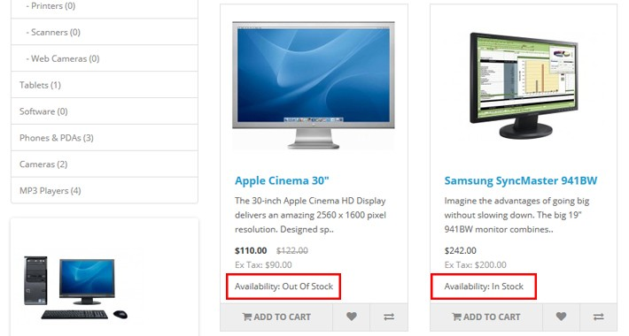 Display the stock status of the products on the Categories page