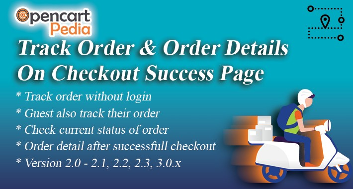 Opencart - Track Order & Order Details on Checkout's Suceess
