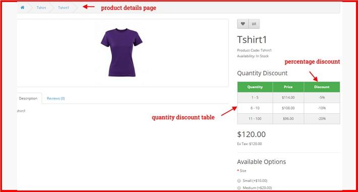 Shopping Cart Quantity Range Discount $ OR %