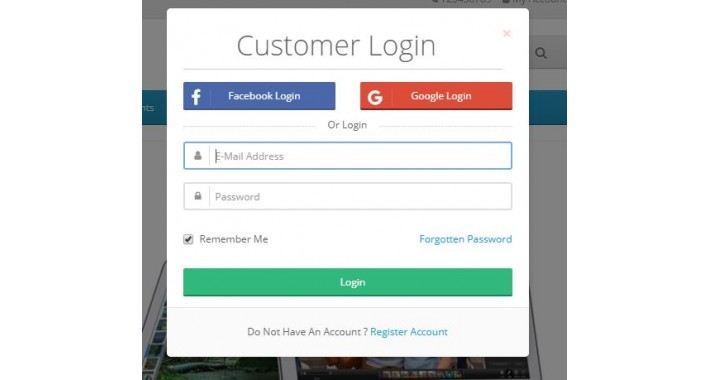 Social Login-Facebook & Google-Custom Register Login