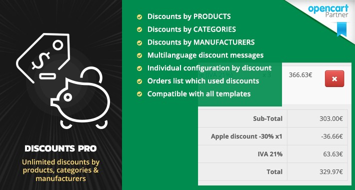 Discounts PRO - Discounts products, categories, manufacturers