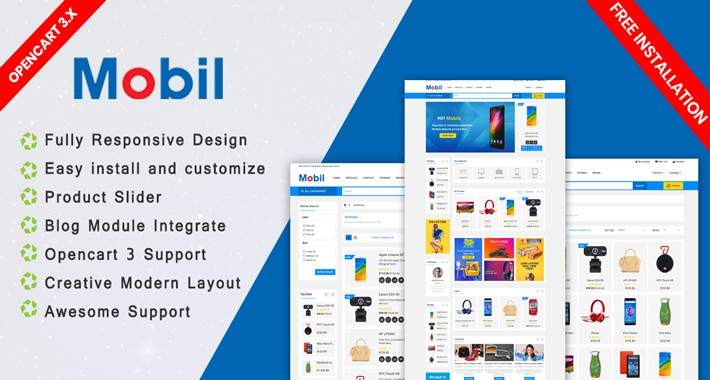 Mobil opencart 3 website theme (shopping, fashion)