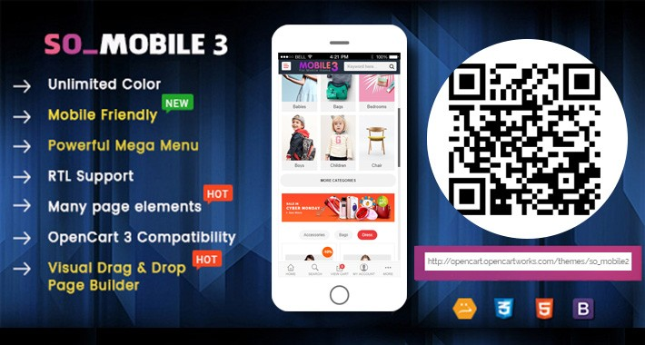 SO Mobile 3 - Reponsive OpenCart 3 Theme (For Mobile Only)
