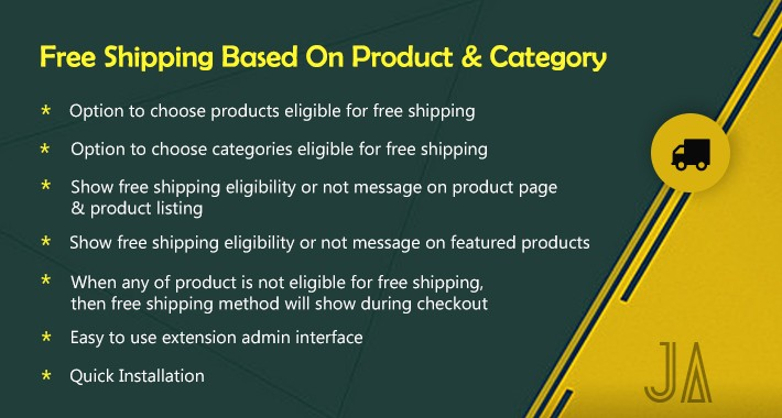 Free Shipping Based On Product & Category