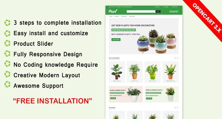 Home & Garden Plant opencart 3 Theme (Flower, poat,)