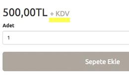 Ürün Sayfasında Fiyat Yanına + KDV ekleme