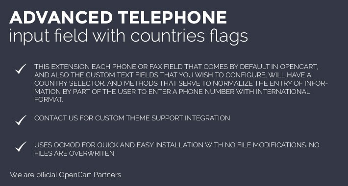 Advanced telephone and fax input field with countries flags