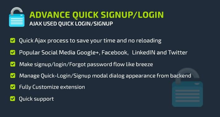 Advance Quick Signup/Login