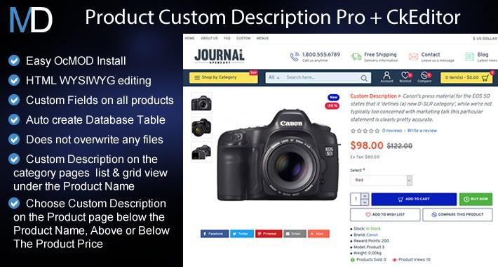 OpenCart - Product Custom Description Pro Journal 2 & 3 +