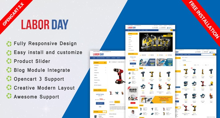 Labour Tools opencart 3.0.3.2 template (Free installation)