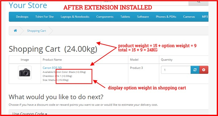 Display Product Option Weight Everywhere