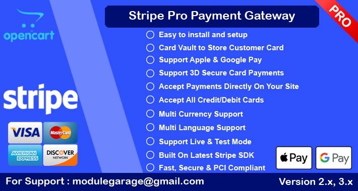 Stripe Pro with 3D and SCA | Card Vault | Apple Pay | Google Pay