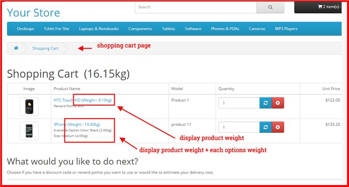 Display Products Weight Everywhere