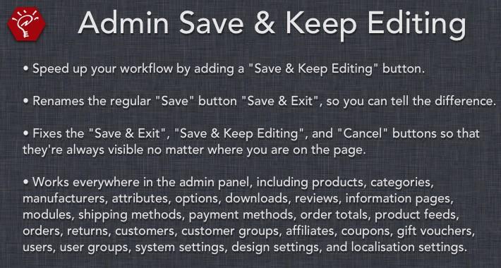 Admin Save and Keep Editing