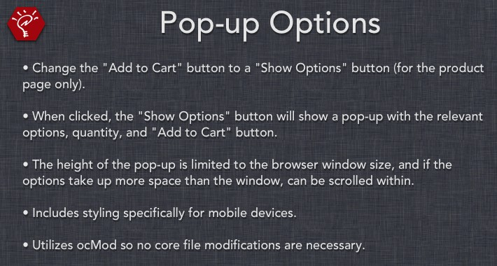 Pop-up Options
