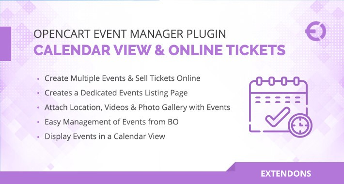 OpenCart Event Manager with Calendar View & Online Tickets