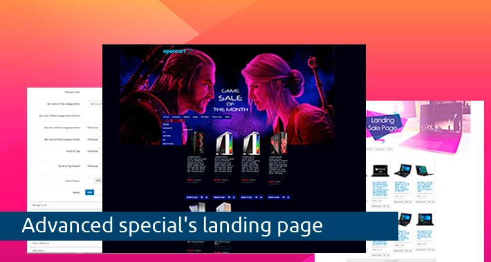 Advanced special's landing page