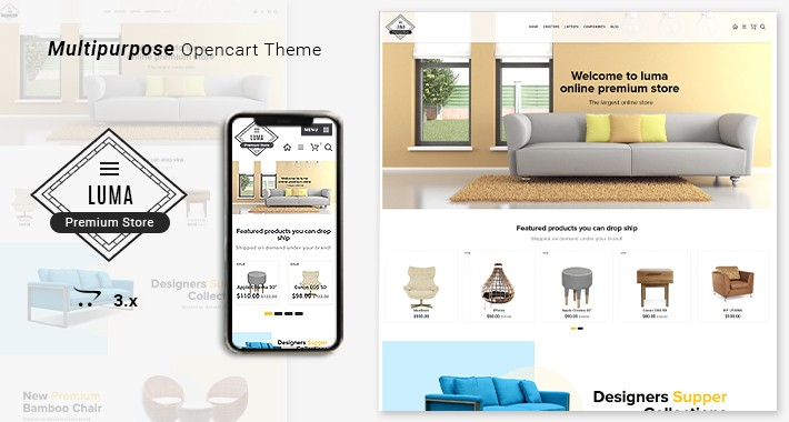 Luma Premium Furniture  Opencart 3 Responsive Store