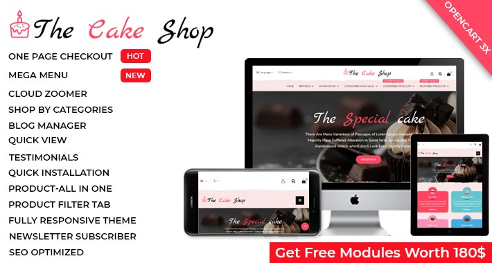 Cake & Gift Shop - OpenCart 3 Multi-Purpose Theme