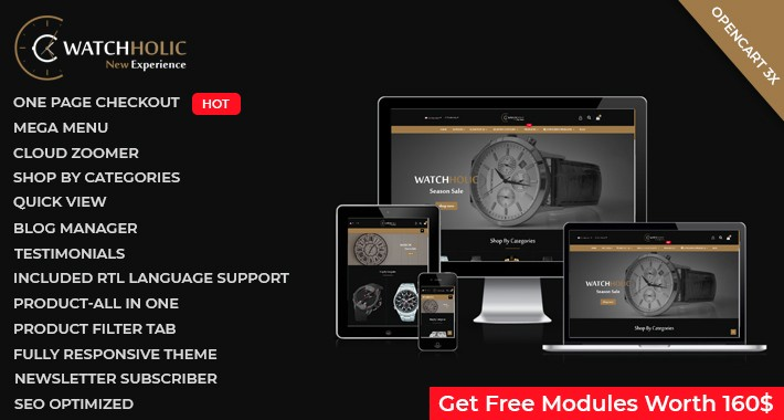Watch Store - OpenCart 3 Multi-Purpose Theme