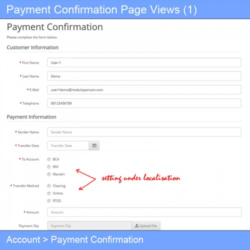 OpenCart - Payment Confirmation for Bank Transfer