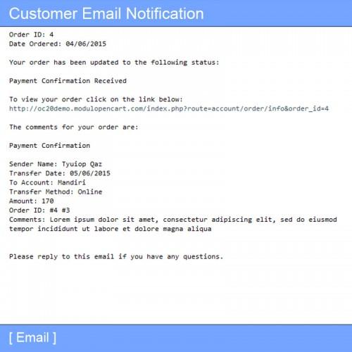 OpenCart - Moneygram Payment Confirmation