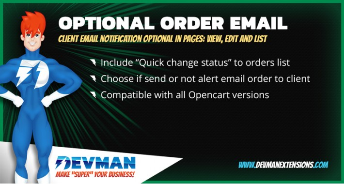Optional email notification order status - Edit, List & View
