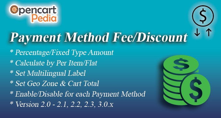 Opencart COD fee - Payment Fee / Discount