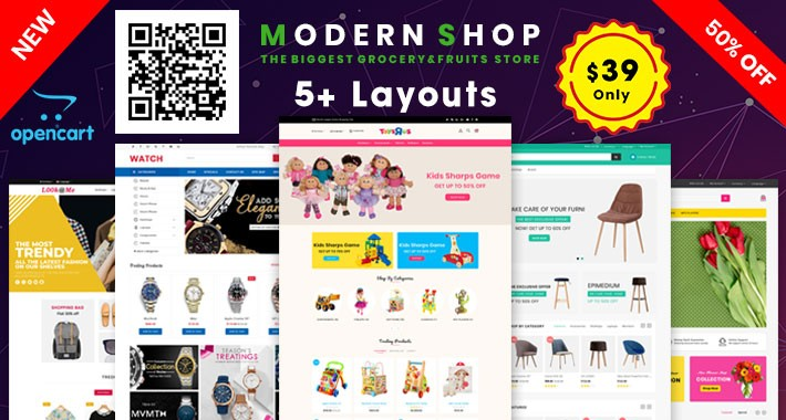 Modern Theme oc 3.x (Furniture,flower,toys,fashion,watch)