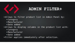 Admin Filter+ (by сategory, manufacturer, date ..
