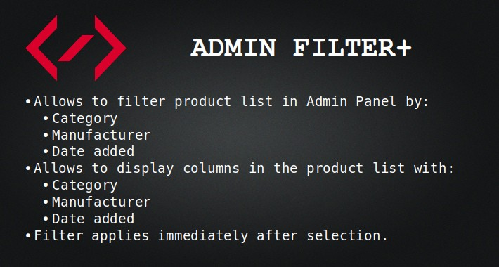Admin Filter+ (by сategory, manufacturer, date added)