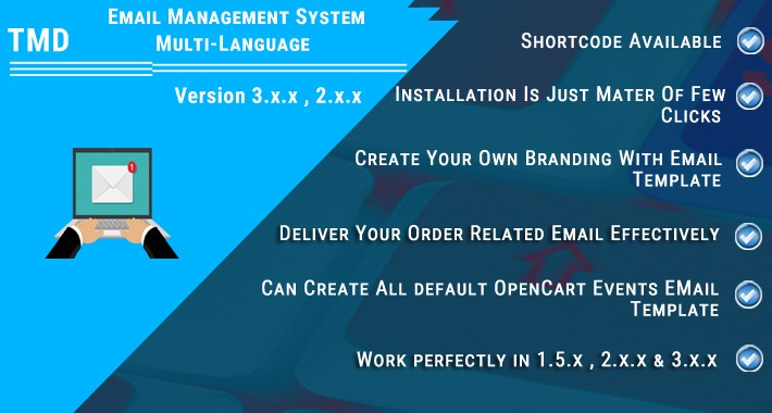 opencart email management system multi-language