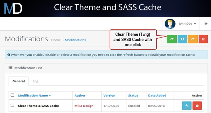 Clear Theme (Twig) and SASS cache Free Version