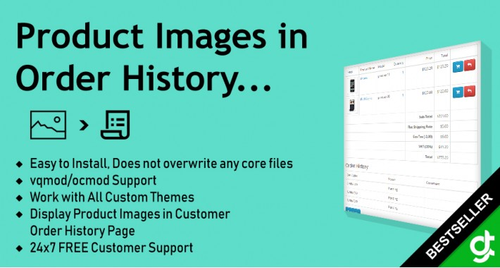 Product Images in Order History - vqmod/ocmod