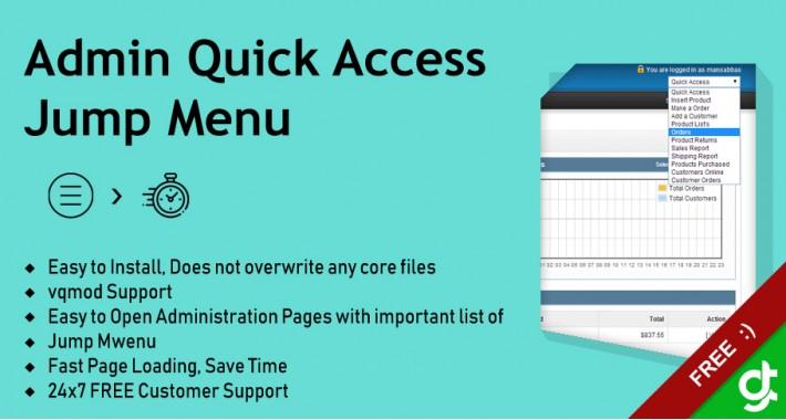 Admin Quick Access Jump Menu - vQmod