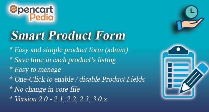 Opencart Smart Product Form OCMOD Version, Journal 2,3 - Pro