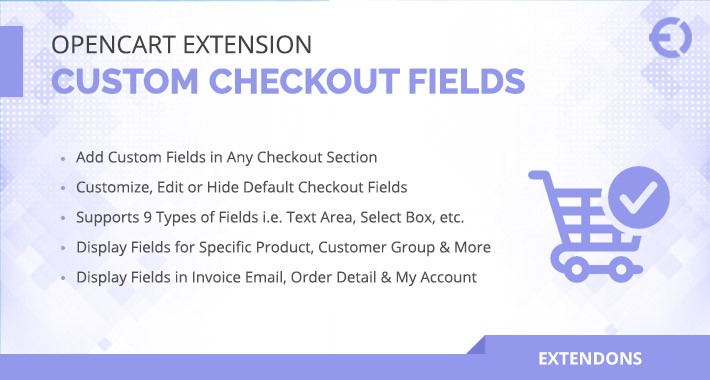 Opencart Custom Checkout Fields Extension