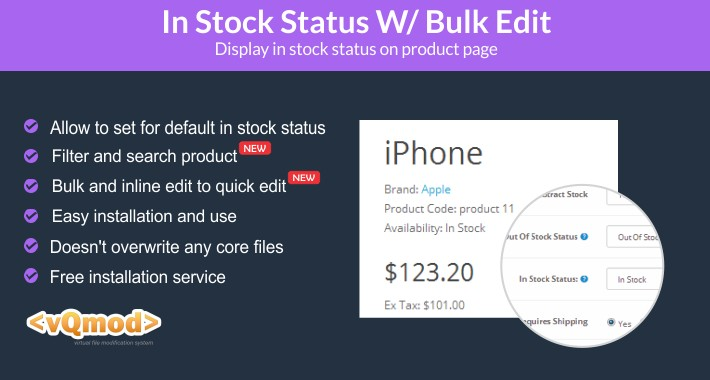 In Stock Status W/ Bulk Edit